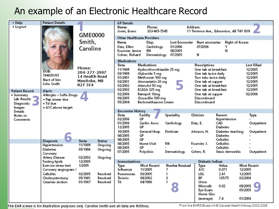 An example of an Electronic Healthcare Record