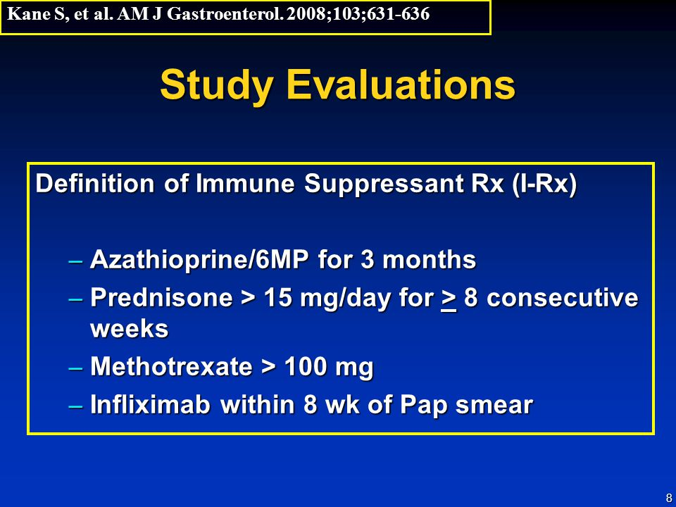 Study Evaluations Definition of Immune Suppressant Rx (I-Rx)