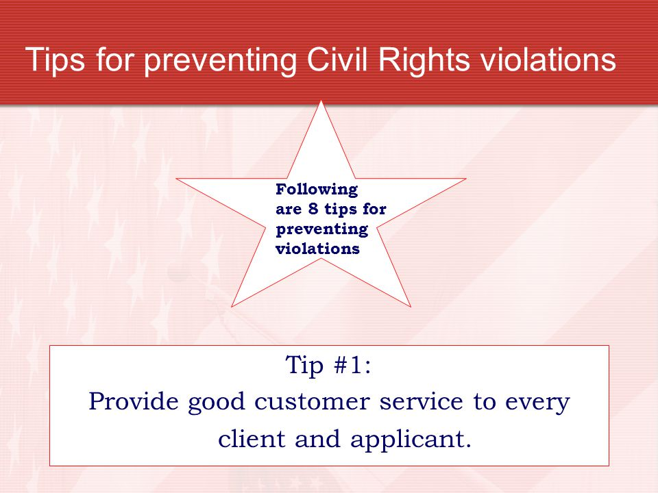Tips for preventing Civil Rights violations