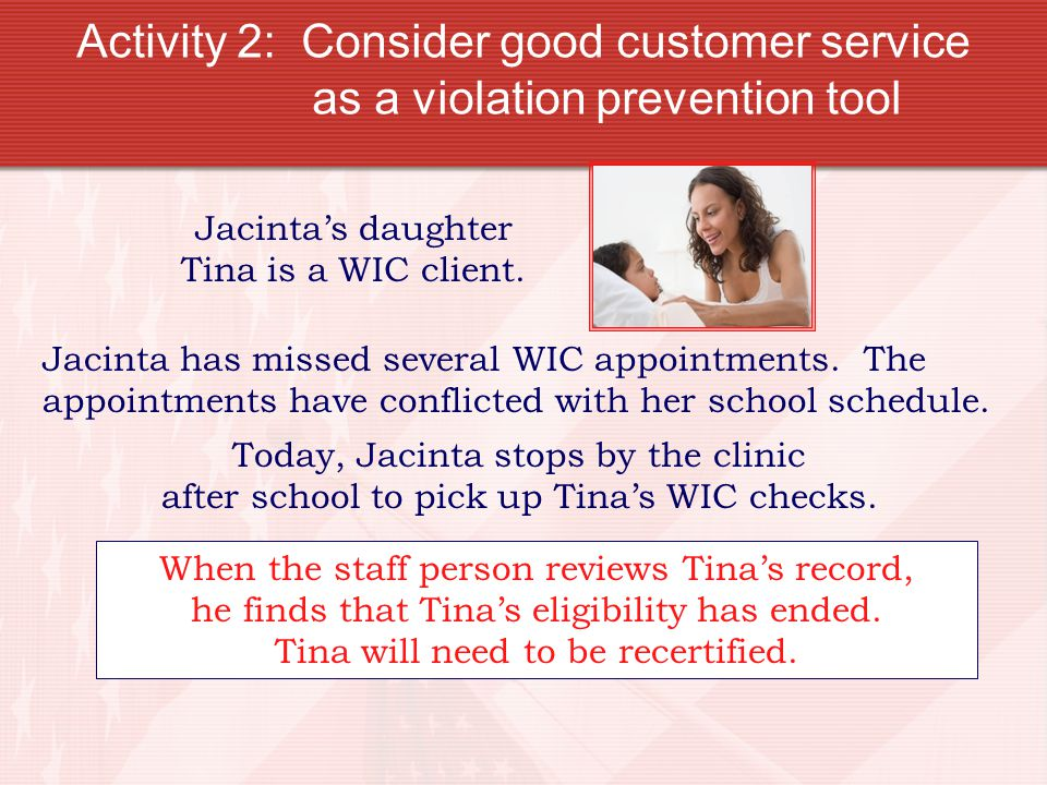 Activity 2: Consider good customer service as a violation prevention tool