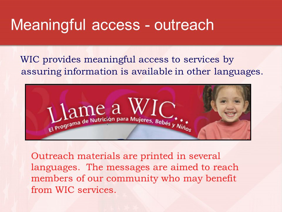 Meaningful access - outreach