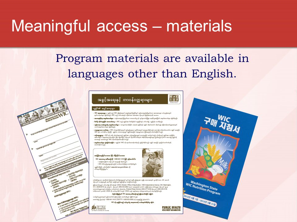 Meaningful access – materials