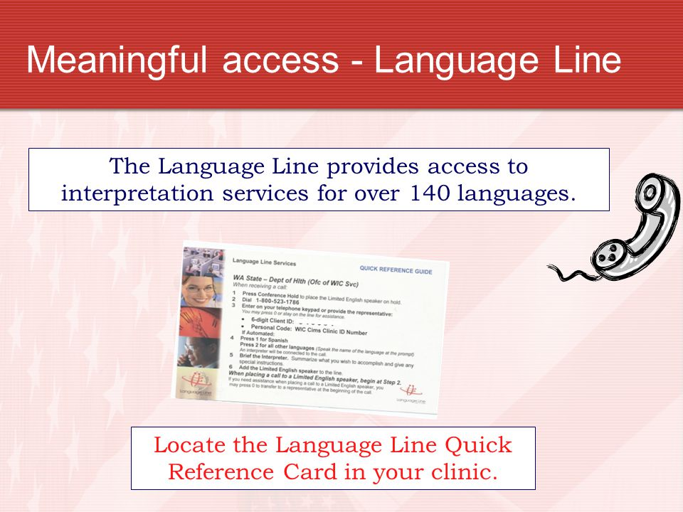Meaningful access - Language Line