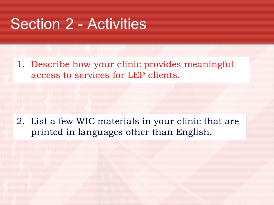Section 2 - Activities 1. Describe how your clinic provides meaningful access to services for LEP clients.