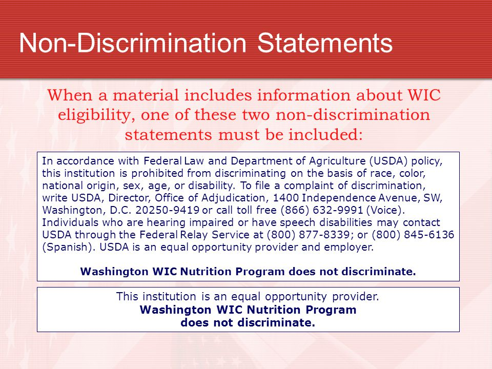 Non-Discrimination Statements