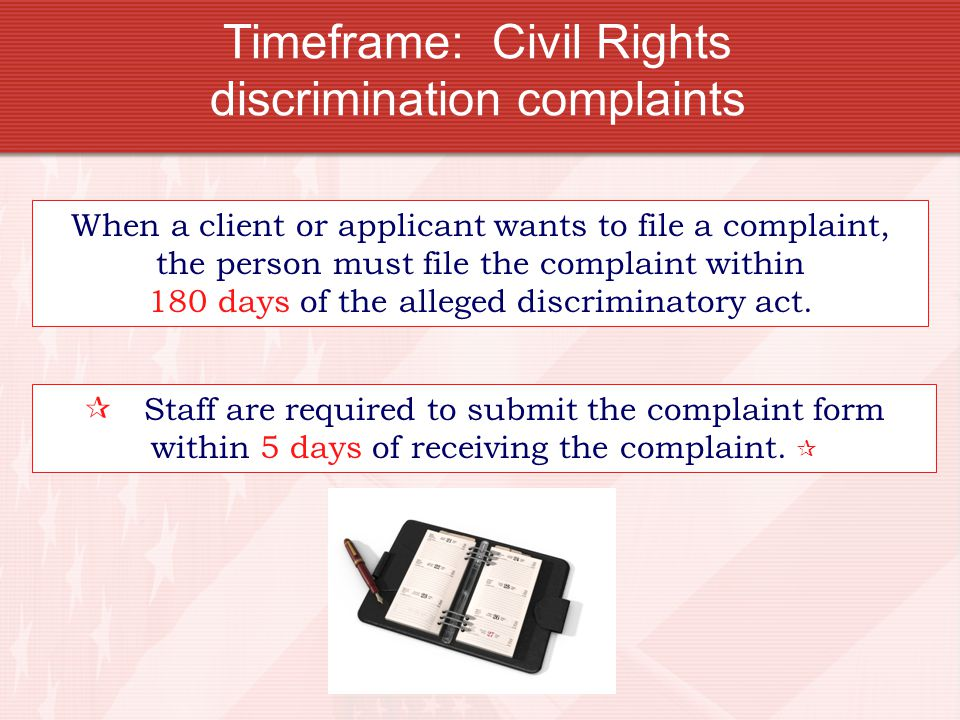 Timeframe: Civil Rights discrimination complaints
