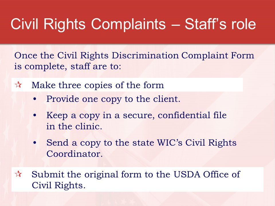Civil Rights Complaints – Staff's role