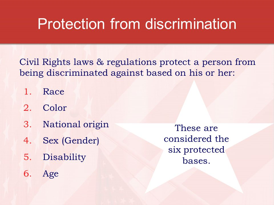 Protection from discrimination