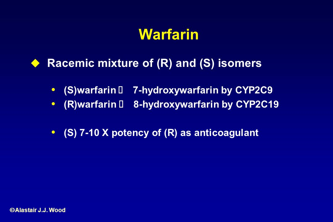 Warfarin Racemic mixture of (R) and (S) isomers