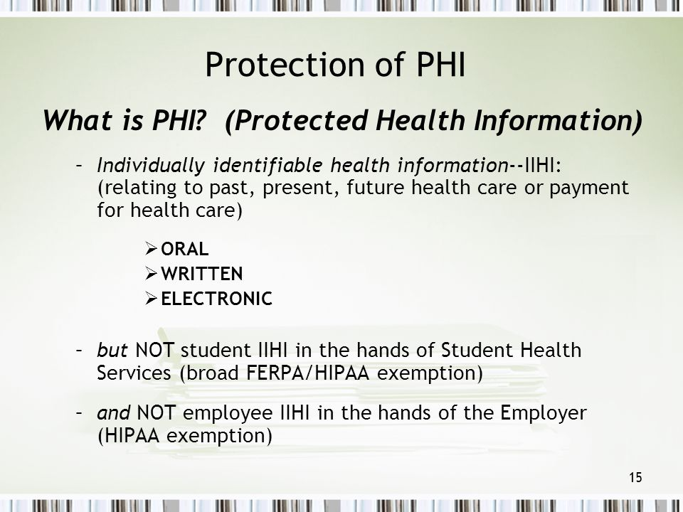 Protection of PHI What is PHI (Protected Health Information)