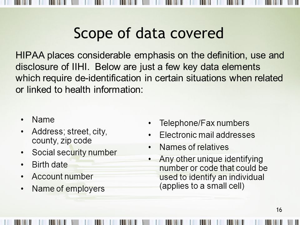 Scope of data covered