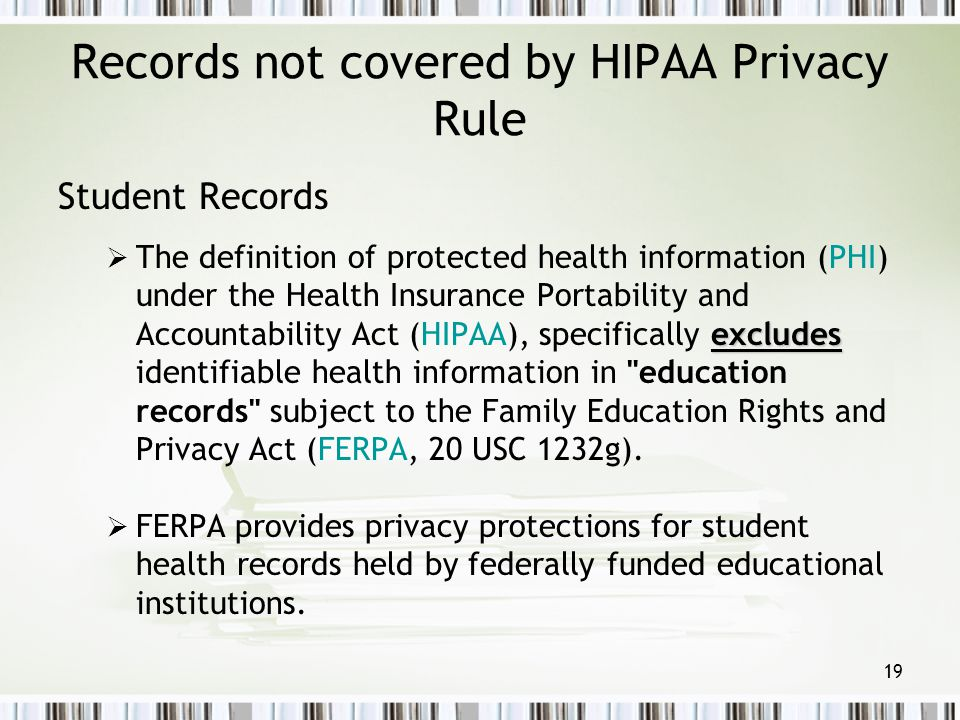 Records not covered by HIPAA Privacy Rule