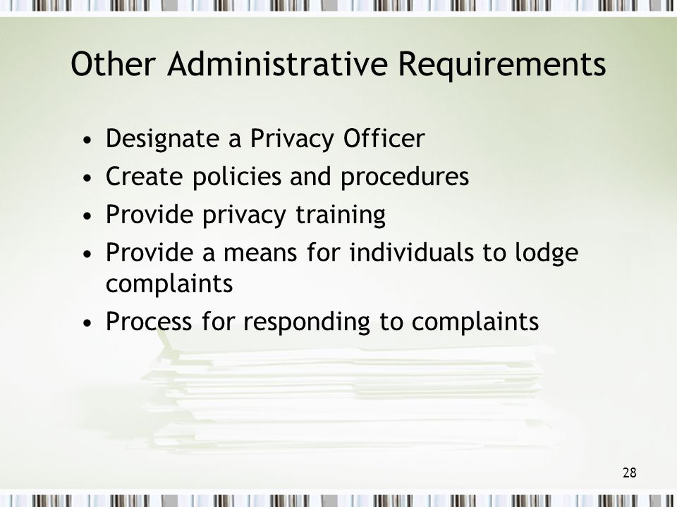 Other Administrative Requirements