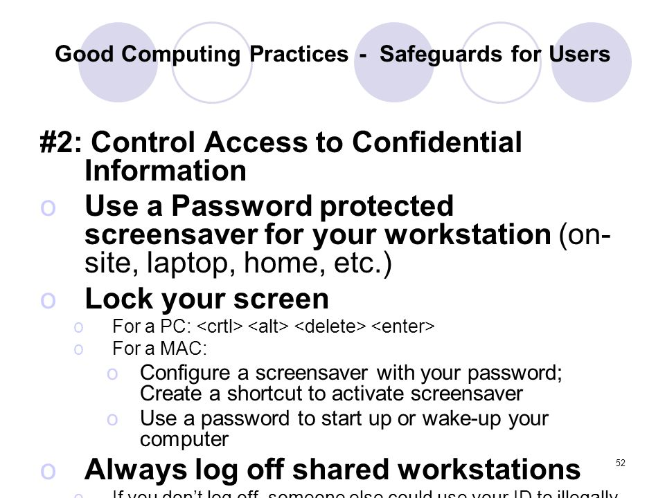 Good Computing Practices - Safeguards for Users
