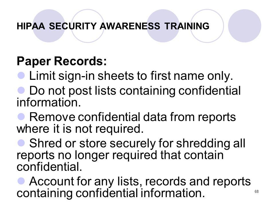 HIPAA SECURITY AWARENESS TRAINING