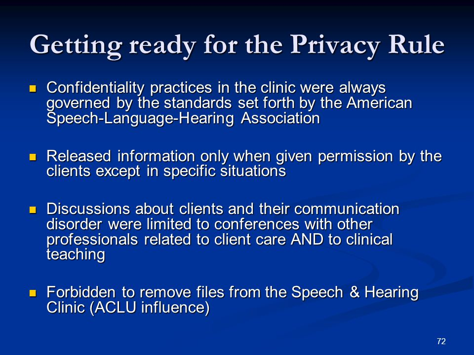 Getting ready for the Privacy Rule