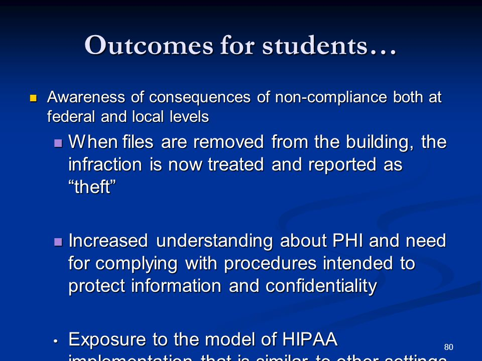 Outcomes for students…
