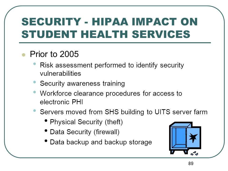 SECURITY - HIPAA IMPACT ON STUDENT HEALTH SERVICES