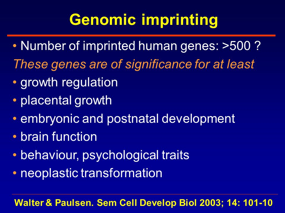 Genomic imprinting Number of imprinted human genes: >500