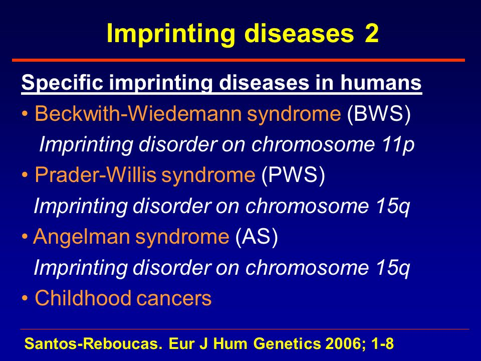 Imprinting diseases 2 Specific imprinting diseases in humans