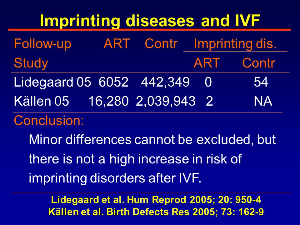 Imprinting diseases and IVF