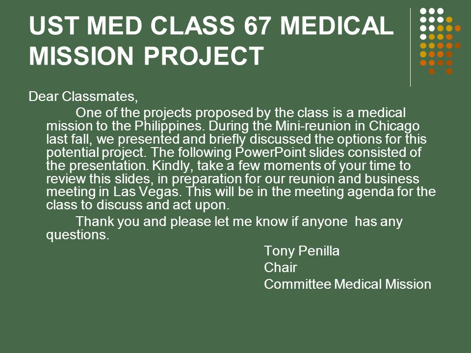 UST MED CLASS 67 MEDICAL MISSION PROJECT