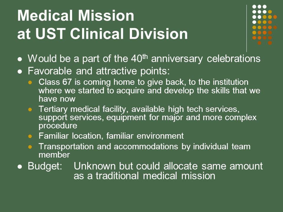 Medical Mission at UST Clinical Division