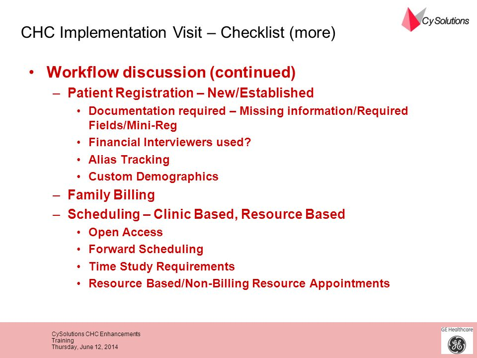 CHC Implementation Visit – Checklist (more)