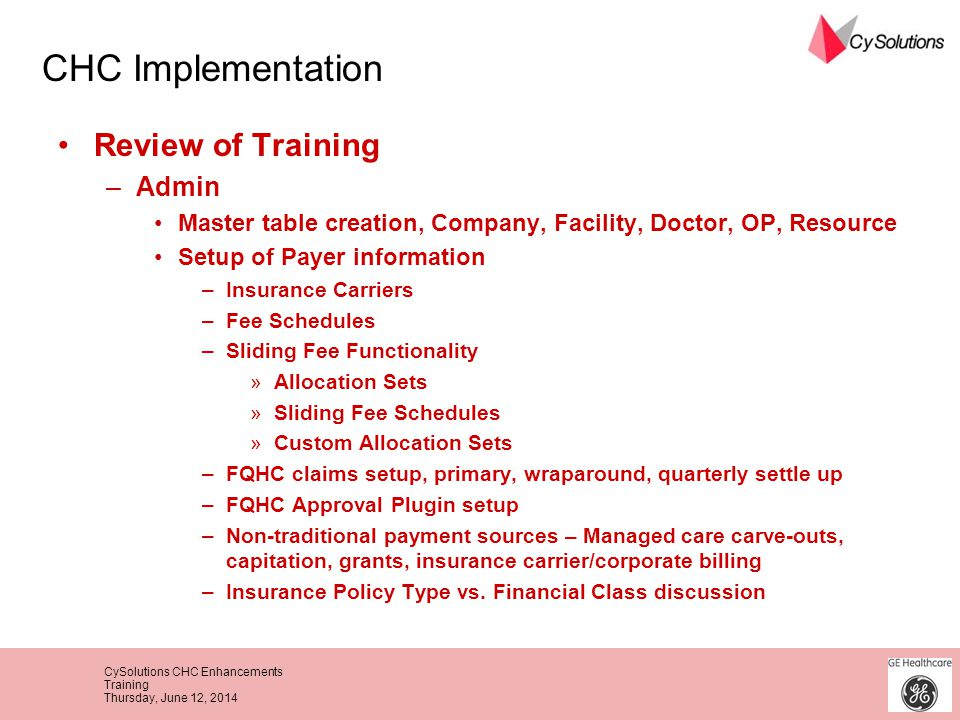 CHC Implementation Review of Training Admin