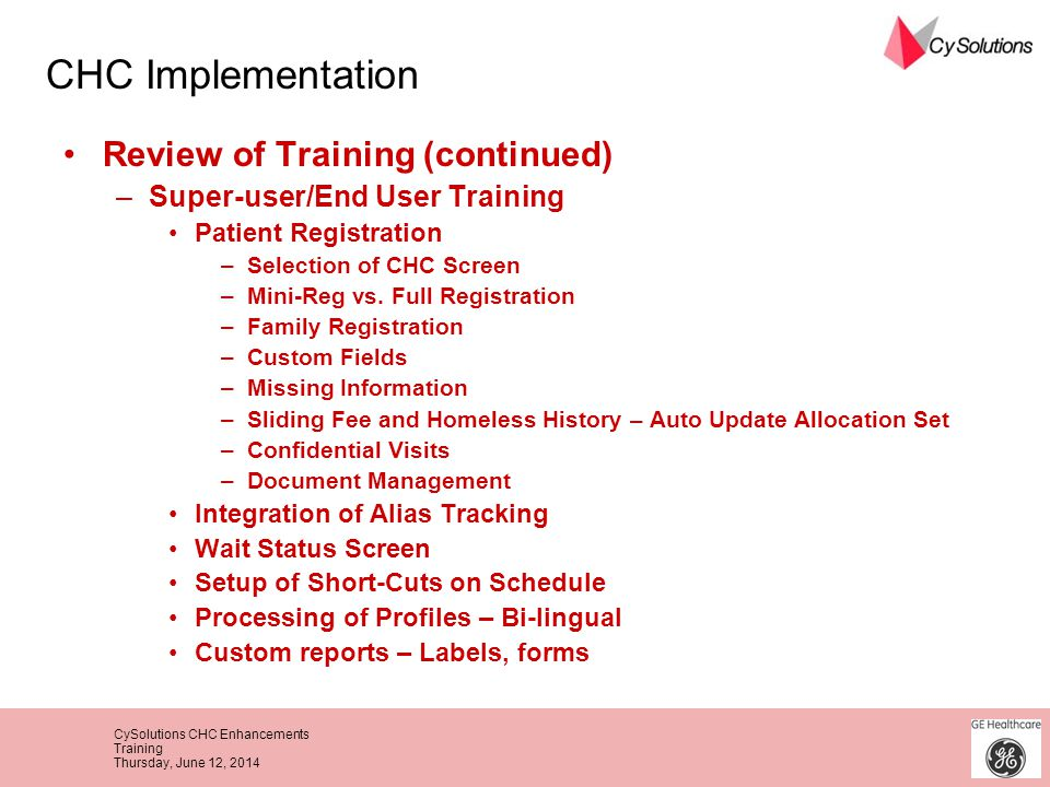 CHC Implementation Review of Training (continued)