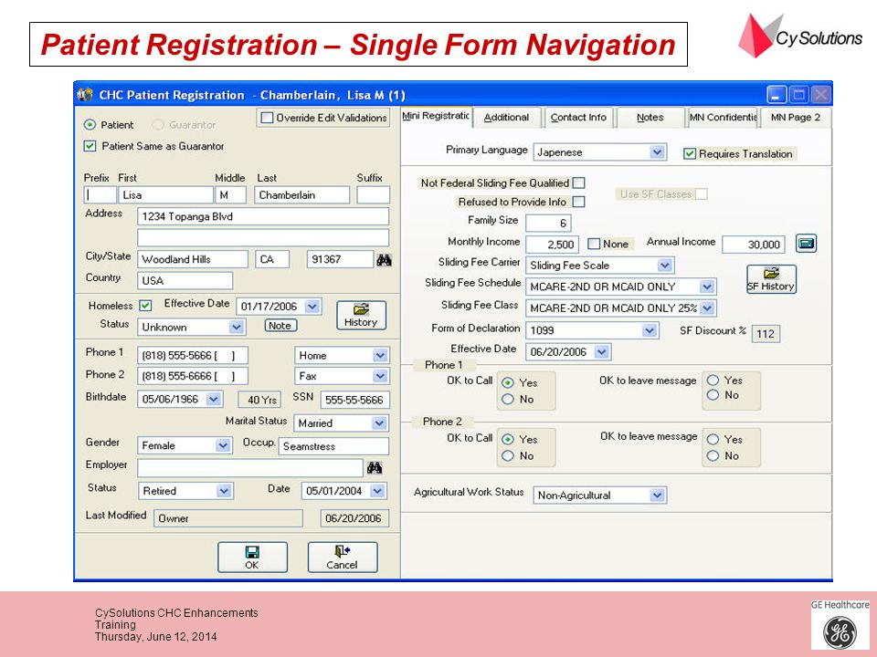 Patient Registration – Single Form Navigation