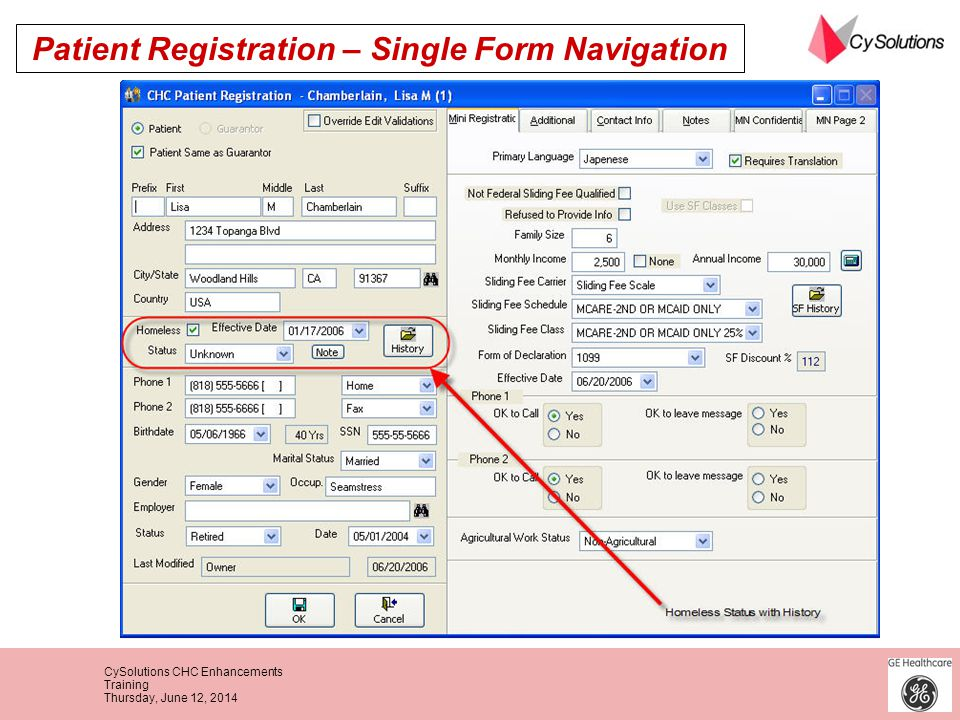 Patient Registration – Single Form Navigation