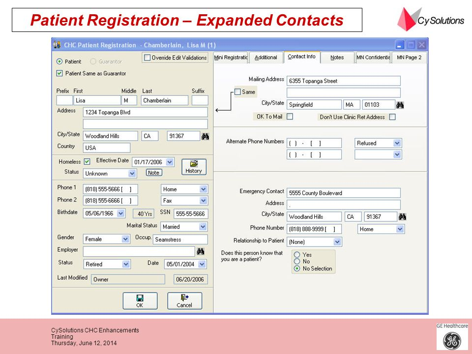 Patient Registration – Expanded Contacts
