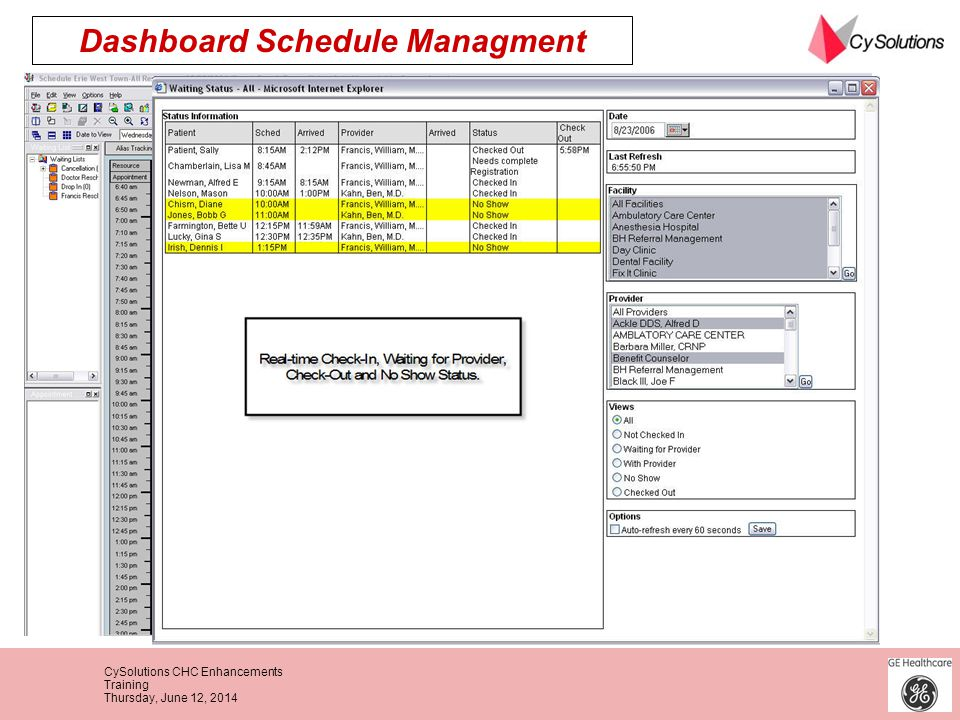 Dashboard Schedule Managment