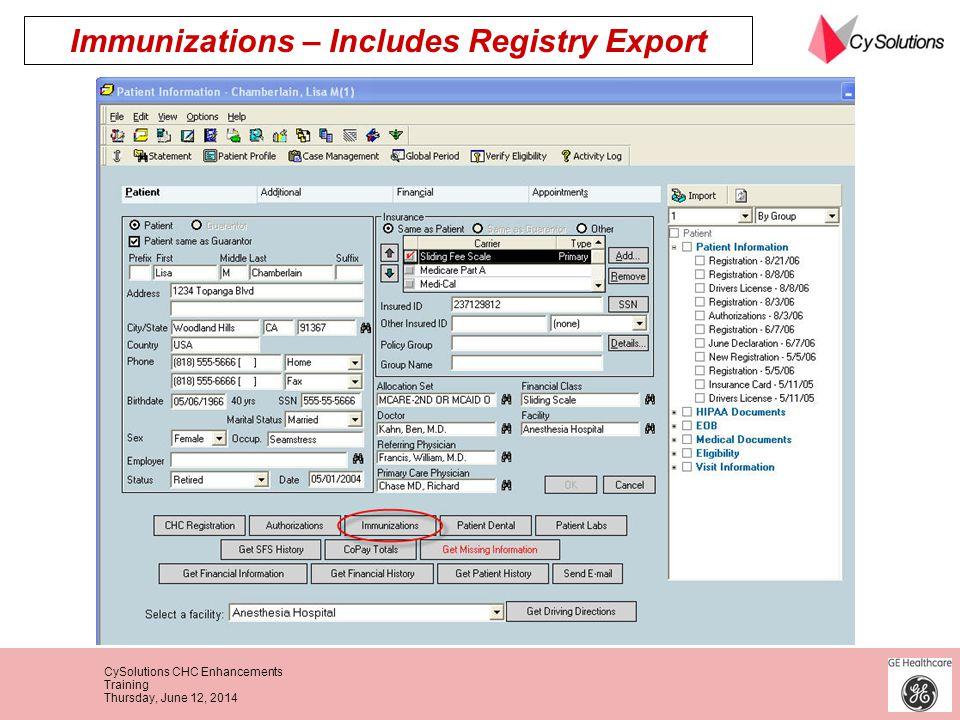 Immunizations – Includes Registry Export