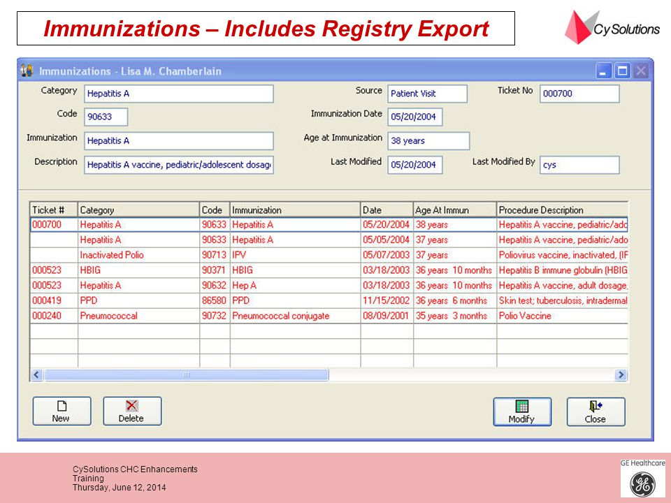 Immunizations – Includes Registry Export