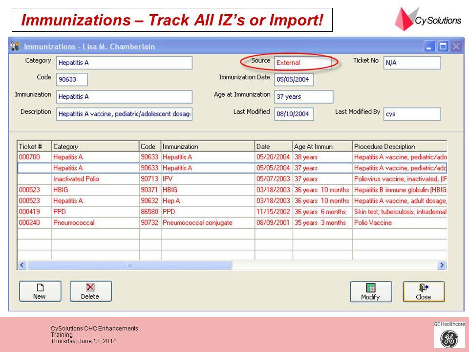 Immunizations – Track All IZ's or Import!