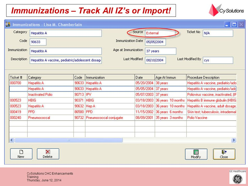 Immunizations – Track All IZ's or Import!
