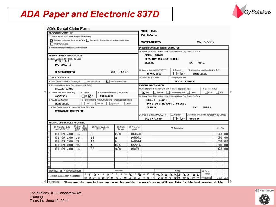 ADA Paper and Electronic 837D
