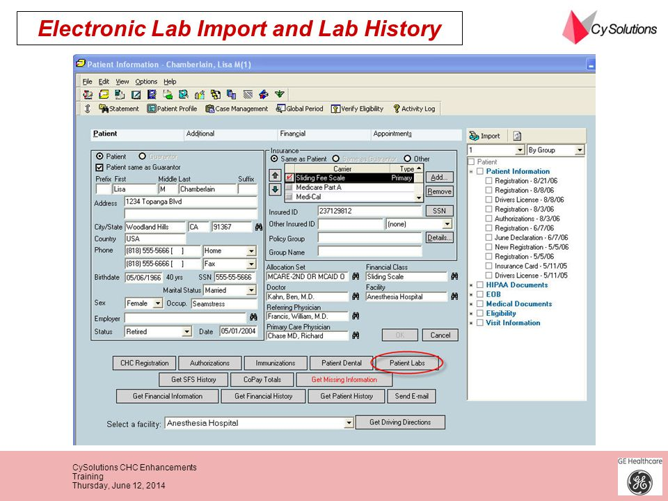 Electronic Lab Import and Lab History