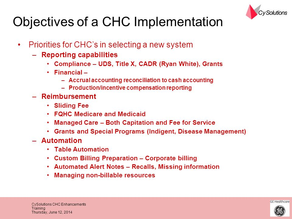 Objectives of a CHC Implementation