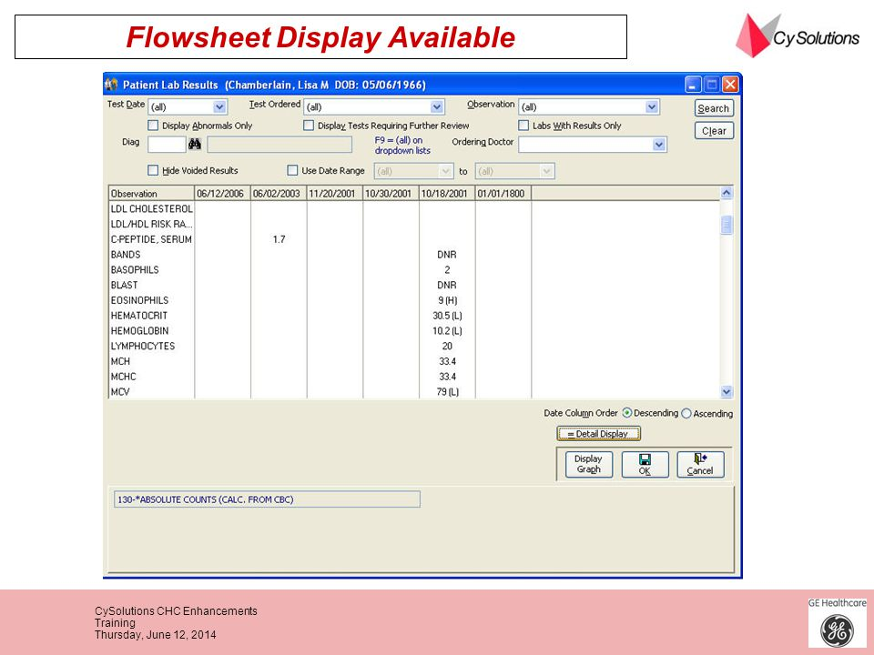 Flowsheet Display Available