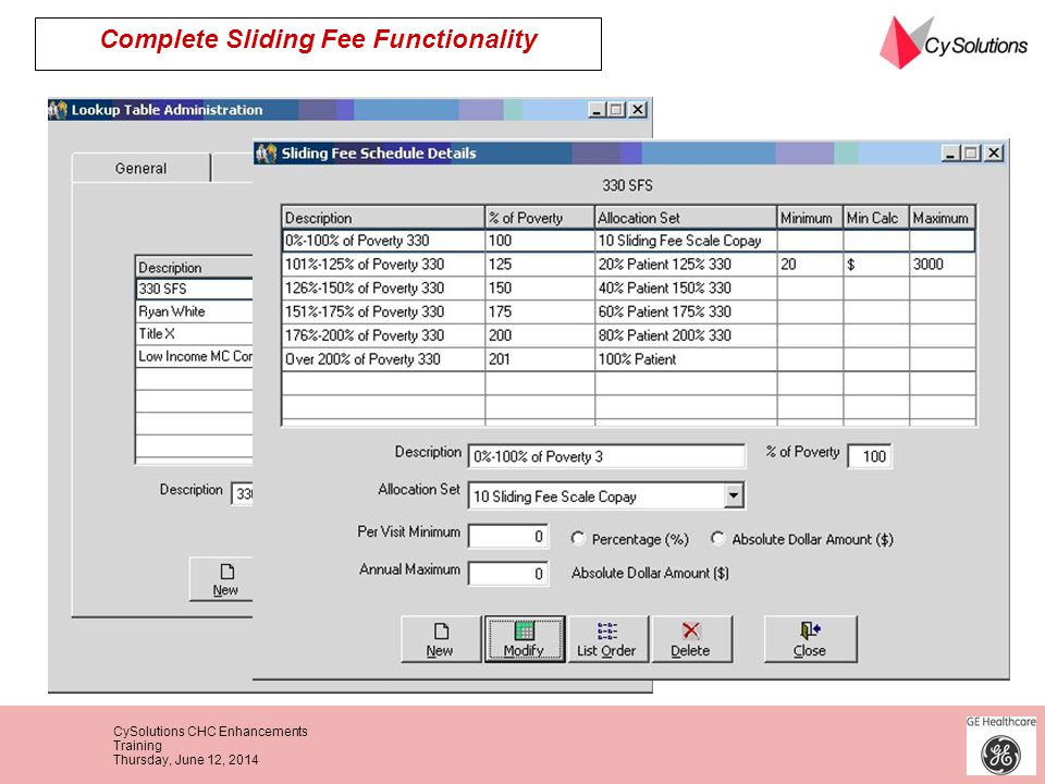 Complete Sliding Fee Functionality