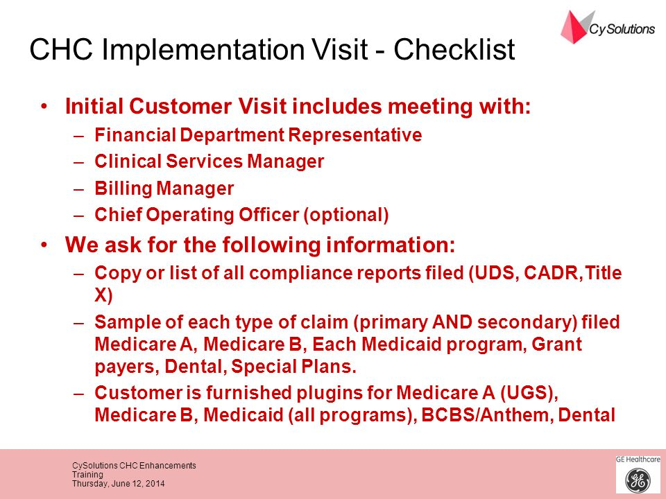 CHC Implementation Visit - Checklist