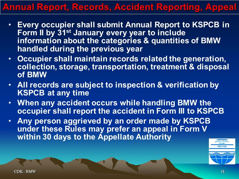 Annual Report, Records, Accident Reporting, Appeal