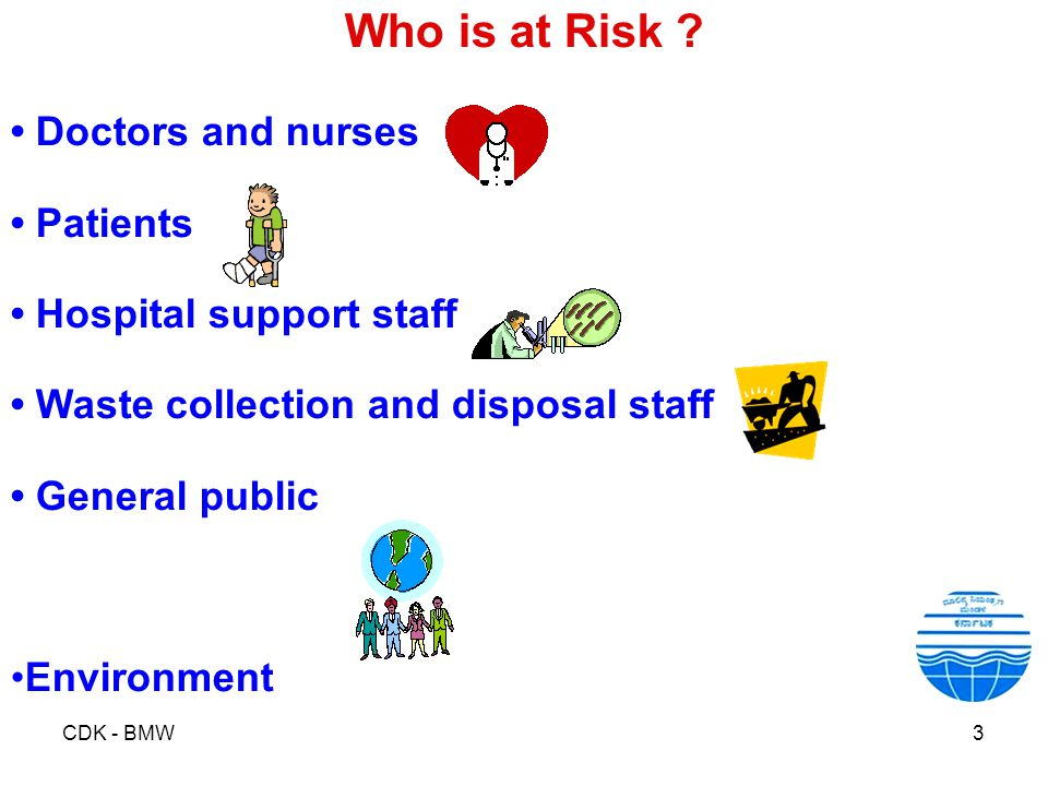 Who is at Risk • Doctors and nurses • Patients