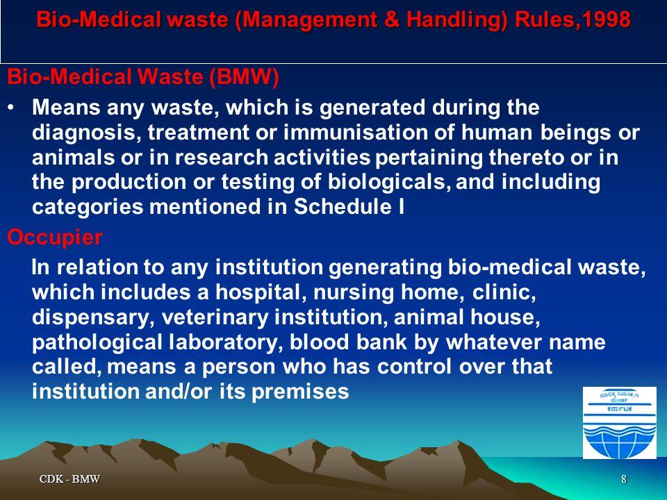 Bio-Medical waste (Management & Handling) Rules,1998