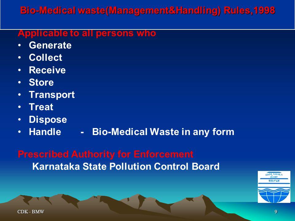 Bio-Medical waste(Management&Handling) Rules,1998