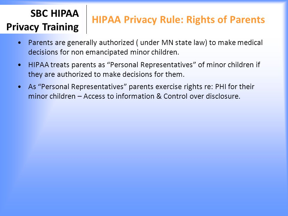 HIPAA Privacy Rule: Rights of Parents