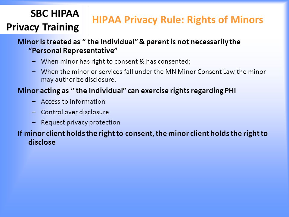 HIPAA Privacy Rule: Rights of Minors